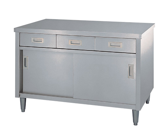 AS ONE 3-4023-01 ED-6045 Cabinet Workbench (Stainless Steel (SUS430)), with Drawer, Stainless Steel Door Specification) 600 x 450 x 800mm