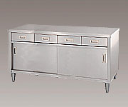 AS ONE 3-4023-04 ED-15075 Cabinet Workbench (Stainless Steel (SUS430)), with Drawer, Stainless Steel Door Specification) 1500 x 750 x 800mm