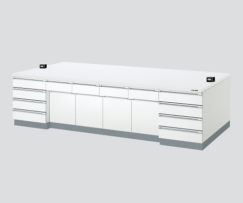 AS ONE 3-3851-02 SAOA-2412W Central Laboratory Bench Wooden White Riser, 2400 x 1200 x 800