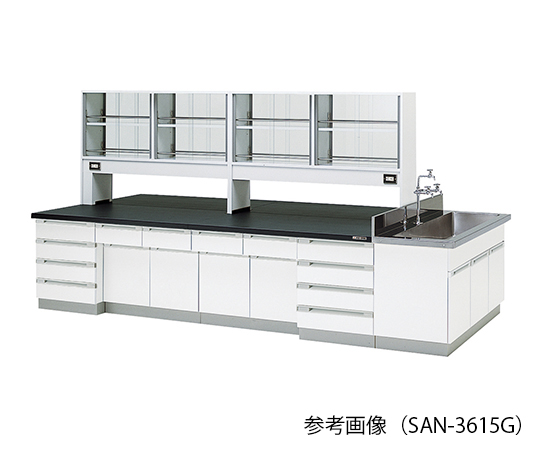 AS ONE 3-7784-03 SAN-3615G Central Laboratory Bench (Wooden Type) With Glass Door 3600 x 1500 x 800/1800mm