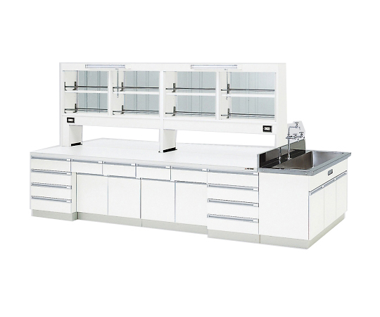 AS ONE 3-3872-03 SAOK-3015W Central Laboratory Bench Wooden White Type, Riser Type, Side Sink, with Reagent Shelf 3000 x 1500 x 800/1870