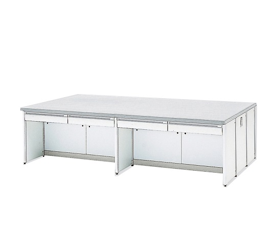 AS ONE 2-3557-14 HBOA-2415W Central Laboratory Bench White, with Drawer, Frame Type 2400 x 1500 x 800