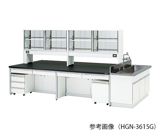 AS ONE 3-7870-01 HGN-2412G Central Laboratory Bench (Frame Type) With Glass Door 2400 x 1200 x 800/1800mm